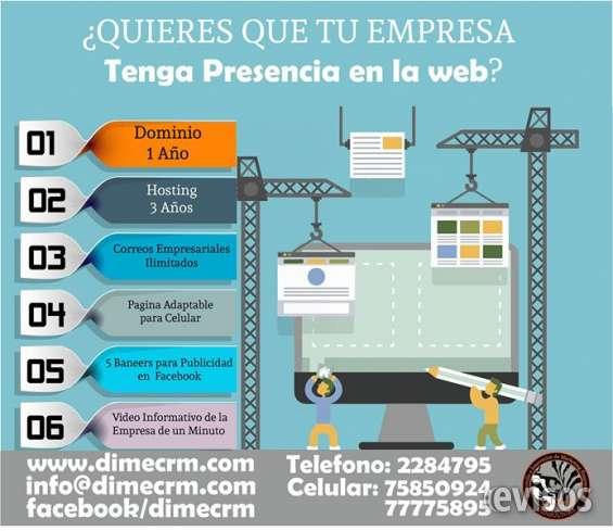 Dimecrm - páginas web personalizadas