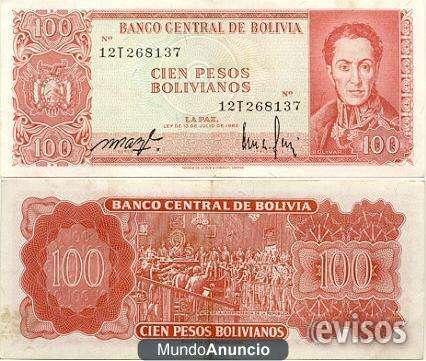 Billetes antiguos de bolivia de 1979 - 1980