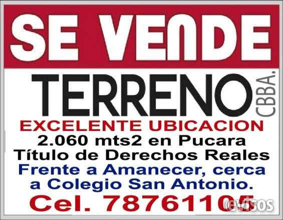 Terreno en venta en cochabamba