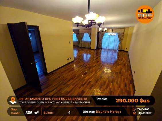 Tipo penthouse en venta 305 m2 zona queru queru