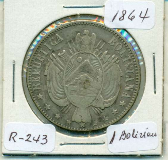 Moneda de plata de 1 boliviano de 1864