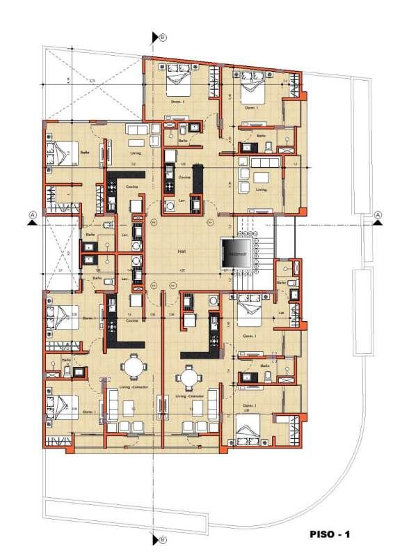 4 departamentos por piso 3 de 2 dormitorios y 1 de un departamento