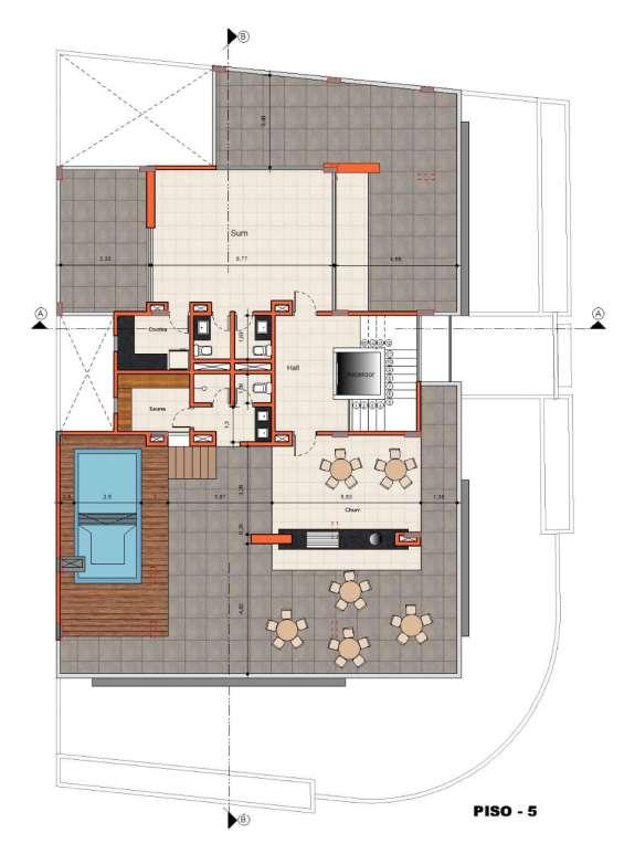 Area social 5to piso con picina sauna y un area social